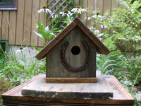 Barn wood Bird House with Horseshoe Perch