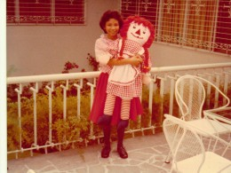 The teenage Me and the grown-up Raggedy Ann at the terrace of our house at Scout Borromeo, Quezon City, Philippines