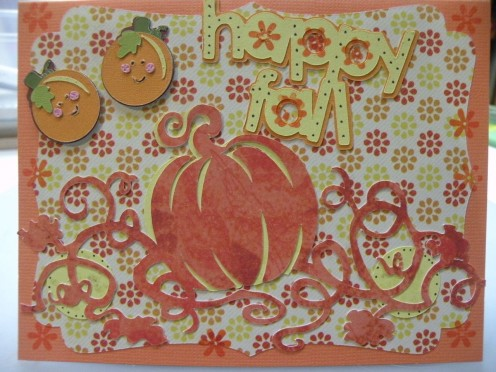 Adhere two small pumpkins