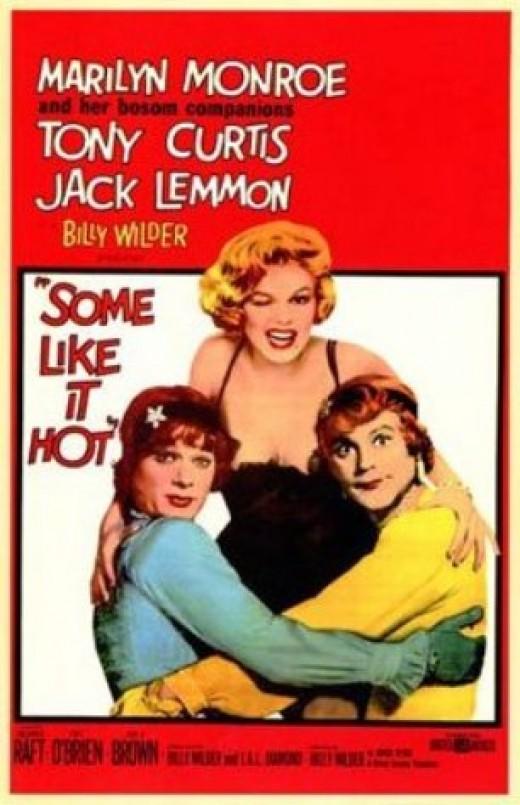 "Jack Lemmon, Tony Curtis, Marilyn Monroe in ""Some Like It Hot"""