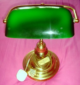 LOVELY BANKERS DESK / TABLE LAMP WITH DARK GREEN SHADE Purchase Price: 3 Sold For: 24