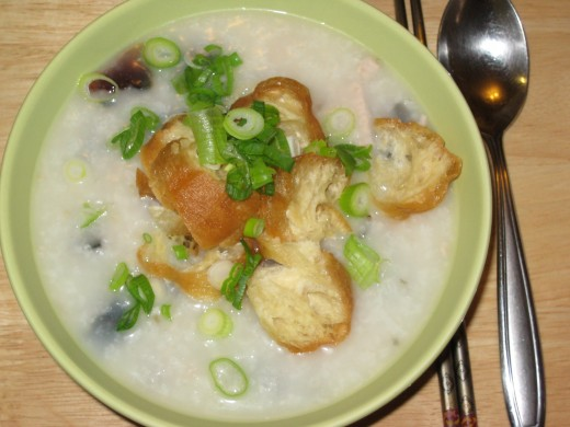 Congee - with pork and preserved egg.  This is one of my favorites - so yummy!