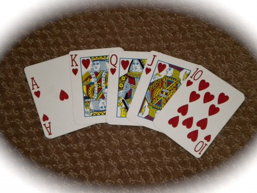 "The Royal Flush - you're not likely to see one of these, but home game players ""try"" for it anyway."
