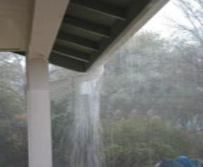 Fig 1. Water overflow over gutter.
