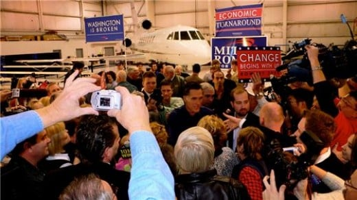 MITT ROMNEY HOLDING A CAMPAIGN RALLY INSIDE MY AIRCRAFT HANGAR IN 2008.