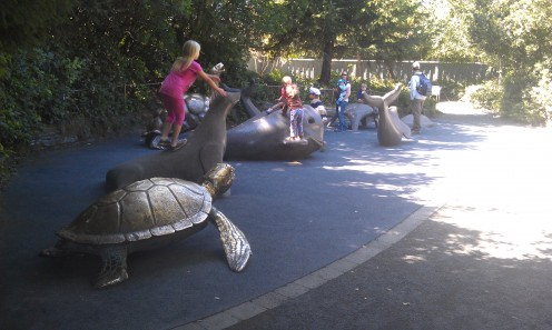 Outdoor play area for young children at the Oregon Coast Aquarium