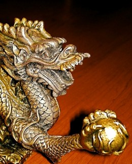 Chinese Prosperity Pearl in Claw  Lucky Dragon Statue