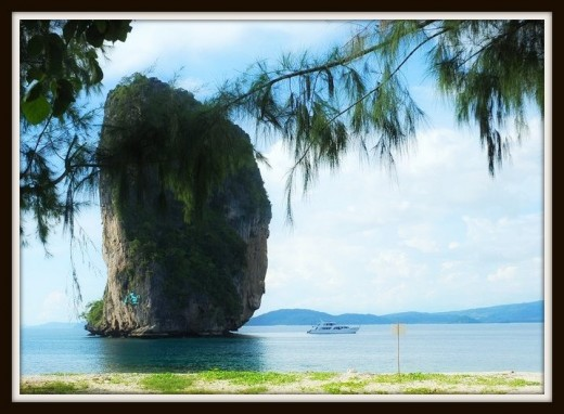 Small limestone cliff that is not far from the coast of Koh Poda