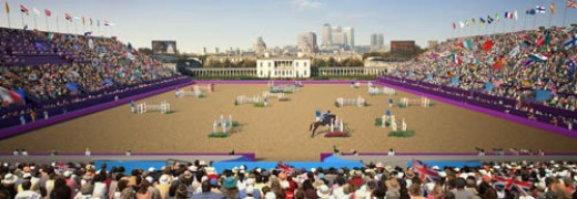 An artist's impression of the equestrian events in Greenwich Park at the 2012 London Olympics