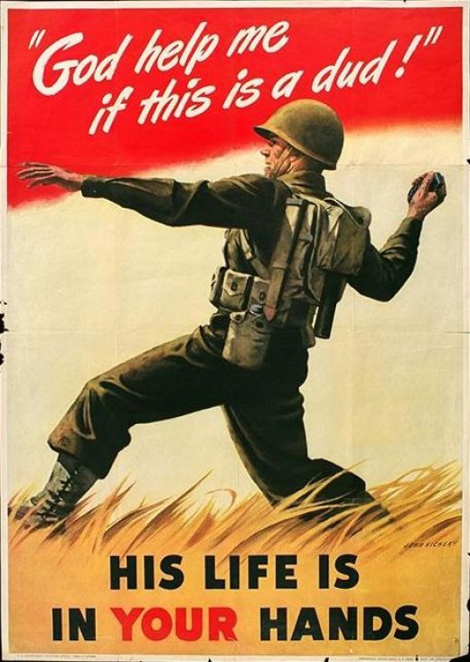 Servicemen were sometimes shown in action on war posters such as this soldier about to unload a hand grenade against some enemy soldiers.