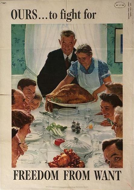 Norman Rockwell might have been commissioned to paint this war poster showing some American family sitting down to eat from a bountiful table. Reasons to support the Armed Forces.