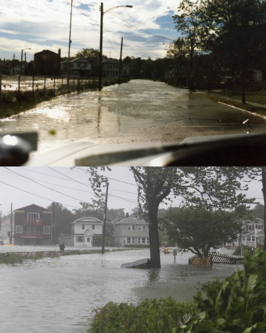 same part of Bayview ave after Gloria in '85 (top) and during Irene in 2011 (bottom).