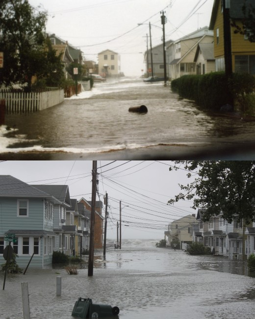 Different streets but same debris in the water during Gloria (top) and Irene (bottom).