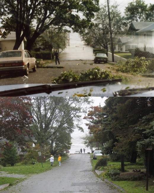 view down two different streets during Gloria (top) and Irene (bottom) but both lead to the sound.