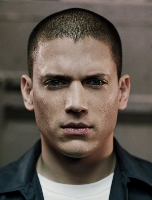 Wentworth Miller very short hair.