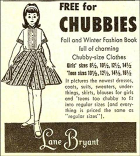 "Now the WEIRD thing is, I REMEMBER this ad!! And I didn't want to EVER have to shop in the ""chubby"" section!!"