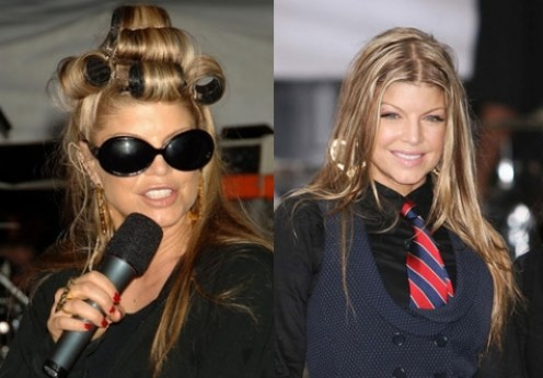 Fergie, with and without curlers. A curler mohawk? Puh-leeze! Although I have to say, at least with the curlers in you can't tell that she hasn't washed her hair for a couple of weeks... I think maybe it's time for a little hair-apy, Ferg.