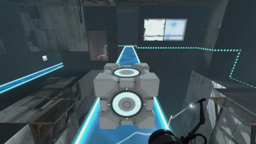 Taking the cube to the button in Test Chamber 11/22 in Chapter 3 of Portal 2.