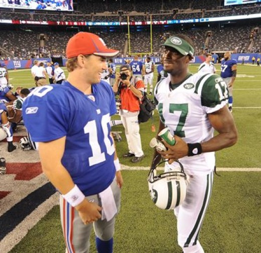 New York Giants and New York Jets Plaxico Buress reunite during the preseason game in August 2011