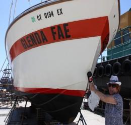 """Glenda Fae"" - My mother with cabin cruiser"