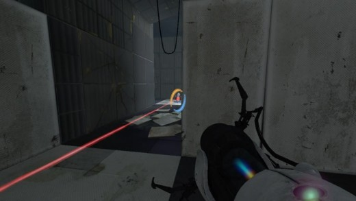 Dropping the third turret through a portal to neutralize it in Chapter 3, The Return.