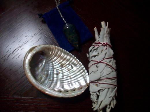 Abalone Shell, Sage, Pendulum