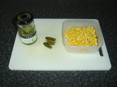 Sweetcorn and miniature pickled gherkins will be added to the potato salad