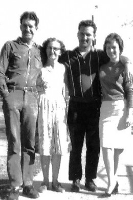 My dad with his brother Gene, My grandmother, Sirena, and my mom, Bobbi Ann , 1958