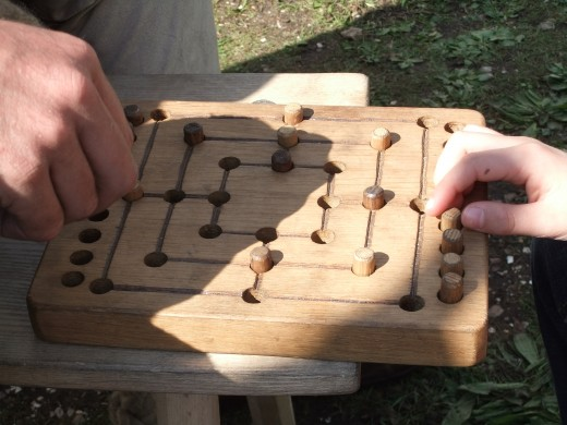 A close up of the game board