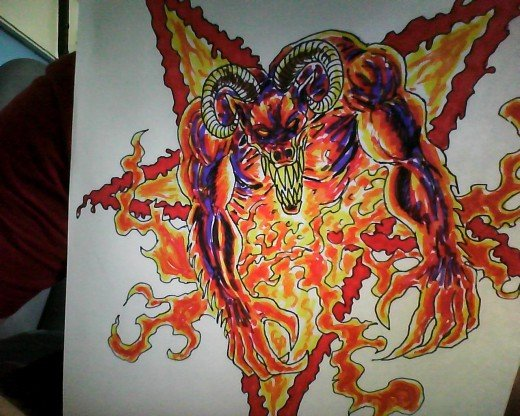 The complete Goat Demon color sketch by Wayne Tully 2011.