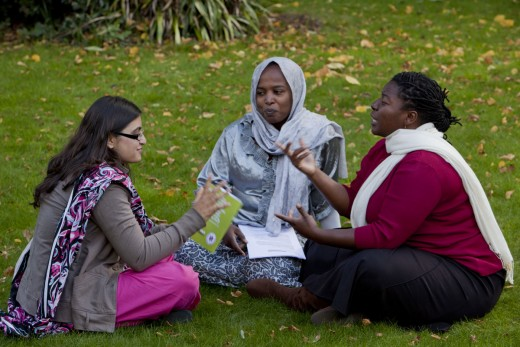 This photo shows Gulalai, Chiyedza and Rasha (from Pakistan, Zimbabwe and Sudan) in discussion at a recent conference.