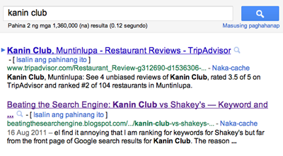 Ranking of my Blogger blog post about Kanin Club on the second page
