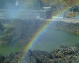 Rainbow in the primordial pool fountain at Tower Hill Botanical Garden