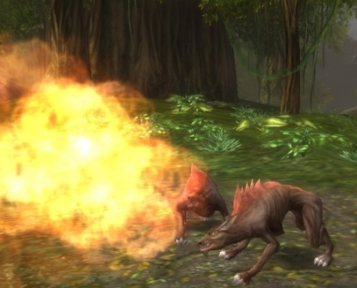 Hellhounds breathe fire as their primary weapon.