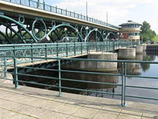 Close-up of the Tees Barrier at Portrack showing the structure that spans the river near Stockton