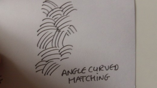Angle curved hatching technique with ink pens.