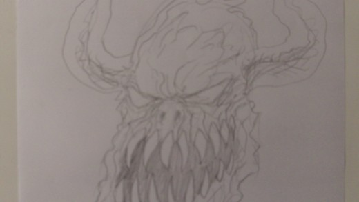 A pencil head sketch of a demon creature, loose line sketching.