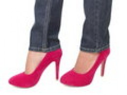 HIGH HEELS AND JEANS. SHE'S READY FOR YOU AND HER TO 'PAINT THE TOWN RED.' PACE YOURSELF, BUDDY.