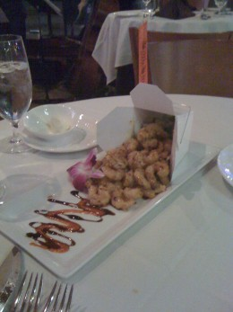 Fried Rock Shrimp with Spicy Asian Sauce at Eddie Merlots