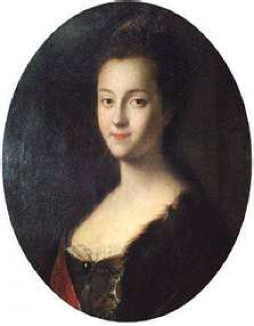 Portrait of Great Duchess Cathrine Alexeevna, the future Catherine the Great of Russia, from 1745, painted by Louis Cavaque.
