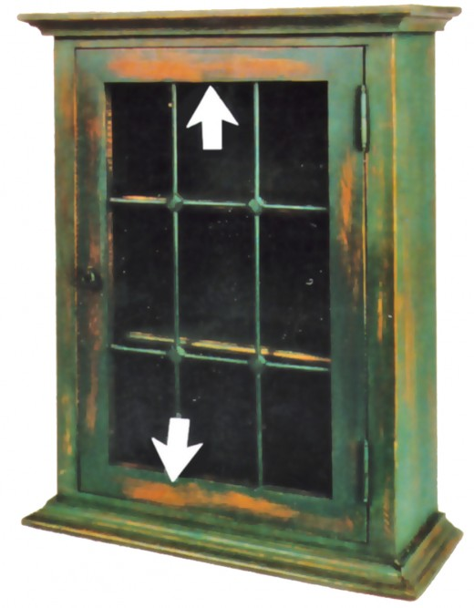 Fig. 1 Why is the paint worn at the arrows on this new glass door cabinet? These areas are not gripped to open the door or exposed to general walk-by traffic. Neither are the areas exposed to wear as the door moves. Artificial