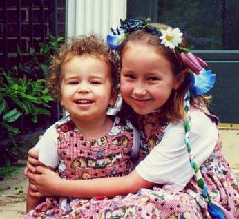 Dana age 3 with older sister Zoe age 8.
