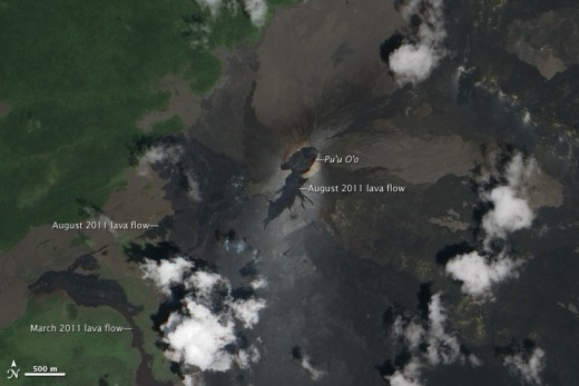 Fresh lava flows around Pu'u O'o, September 2011. Visit Earth Observatory website (link above) and click image for huge high-quality satellite photo.