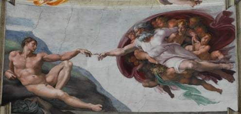 Sistine Chapel. Painting: 1510 ~ photography: 11/06/2011. Public domain ~ copyright expired. This is a faithful photographic reproduction of an original two-dimensional work of art.  See: http://en.wikipedia.org/wiki/File:God2-Sistine_Chapel.png