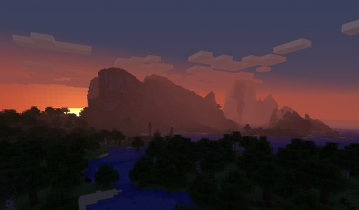 A gorgeous Minecraft 1.8 sunset over the newly generated mountain ranges and ravines.