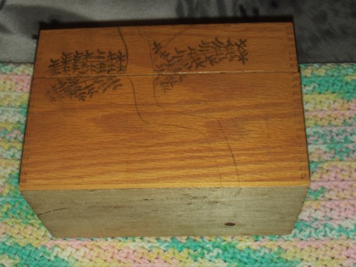 Here is a tree I am drawing on the wood box as an outline for the pyrography work.