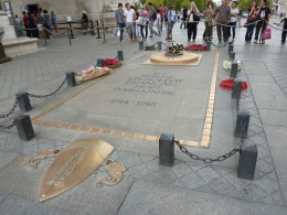 The grave of the Unknown Soldier, beneath the Arc de Triomphe