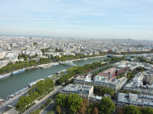 View over the Seine from the Eiffel Tower, with in the far right background the Sacr-Coeur on Montmartre