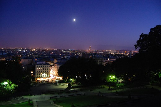 View over Paris from the Sacr-Coeur at night