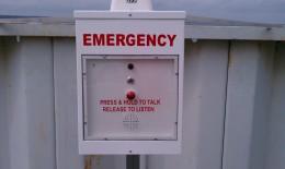 closeup of an emergency call box